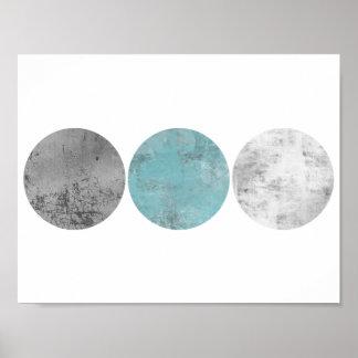 Teal and grey geometric circles poster