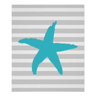 Teal and Grey Striped Nautical Sea Star Poster