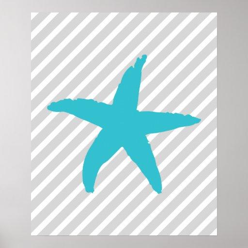 Teal and Grey Striped Nautical Sea Star Print