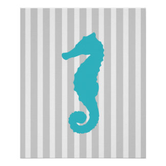 Teal and Grey Striped Nautical Seahorse Posters