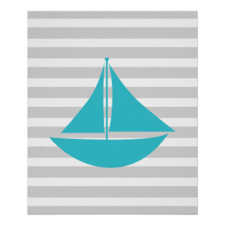 Teal and Grey Striped Nautical Ship Poster