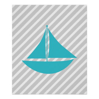 Teal and Grey Striped Nautical Ship Print