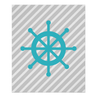 Teal and Grey Striped Nautical Ship Wheel Poster