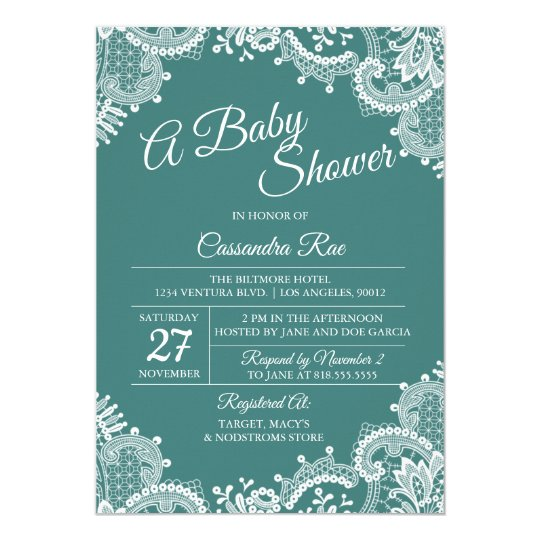 Teal and Lace Baby Shower Invitation