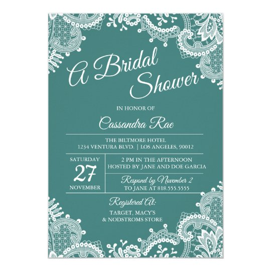 Teal and Lace Bridal Shower Invitation