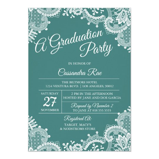 Teal and Lace Graduation Party Invitation