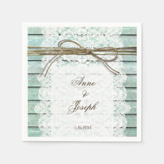 Teal and Lace Napkins Paper Serviettes