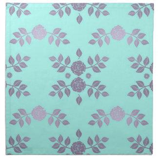 Teal and Lavender Roses Printed Napkin