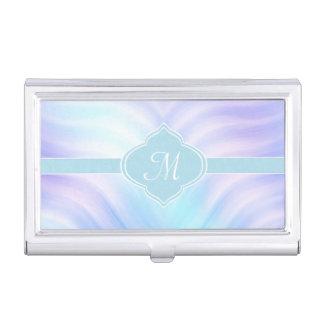 Teal and Lavender Swirls Monogram Business Card Holder