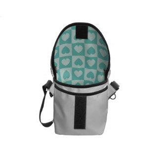Teal and Light Teal Heart Design Messenger Bags