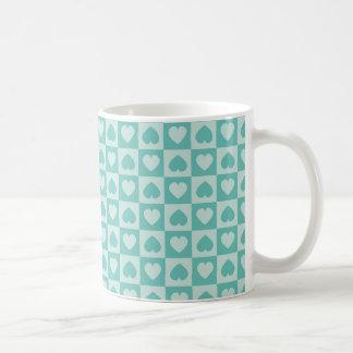 Teal and Light Teal Heart Design Coffee Mug