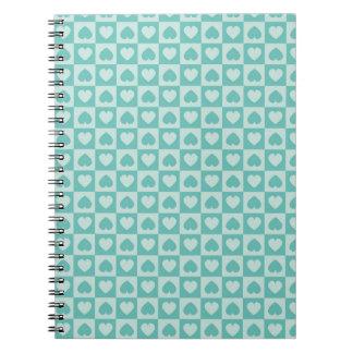 Teal and Light Teal Heart Design Spiral Notebook