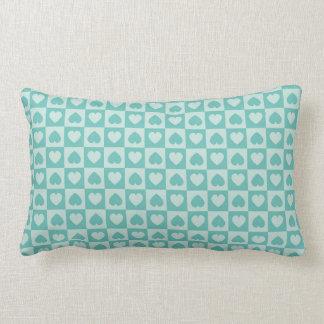 Teal and Light Teal Heart Design Throw Cushion