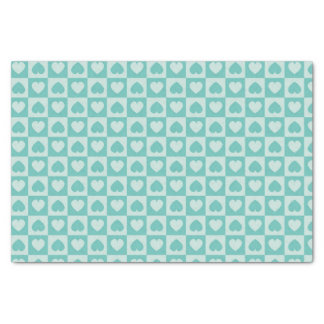 """Teal and Light Teal Hearts 10"""" X 15"""" Tissue Paper"""