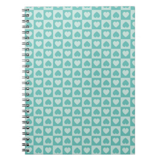Teal and Light Teal Hearts Spiral Note Book