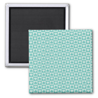 Teal and Light Teal Hearts Square Magnet