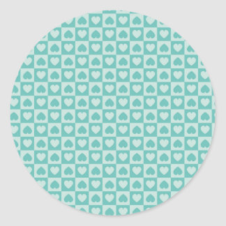 Teal and Light Teal Hearts Classic Round Sticker