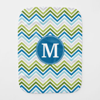 Teal and Lime Chevron Pattern with Monogram Burp Cloth