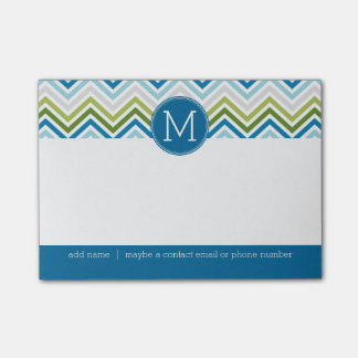 Teal and Lime Chevron Pattern with Monogram Post-it Notes