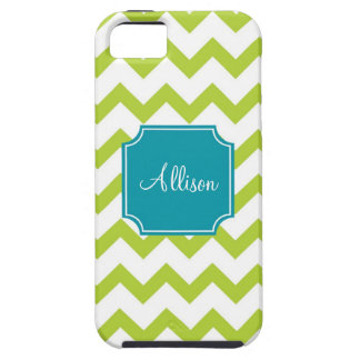 Teal and Lime Green Chevron Case For iPhone 5/5S