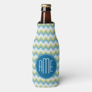 Teal and Lime Green Chevron Patterns Monogram Bottle Cooler