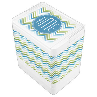 Teal and Lime Green Chevron Patterns Monogram Igloo Cooler