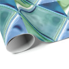 Teal and Navy Glass Mosaic Tile Art Wrapping Paper