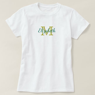 Teal and Olive Green Monogram T-Shirt