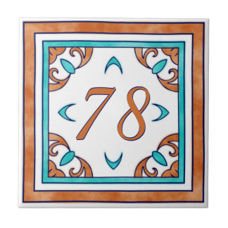 Teal and Orange Big House Number Tile