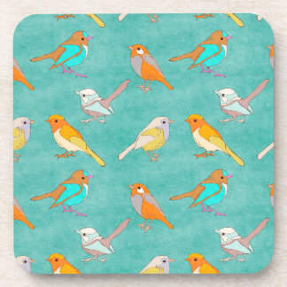 Teal and Orange Colorful Birds Pattern Turquoise Coaster