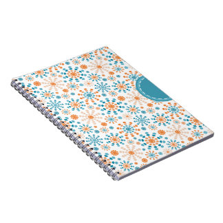 Teal and Orange fireworks bursts abstract circles Spiral Notebooks