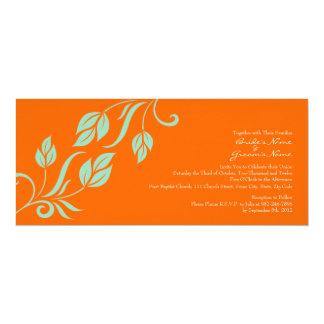 """Teal and Orange Floral Leaves Wedding Invitation 4"""" X 9.25"""" Invitation Card"""