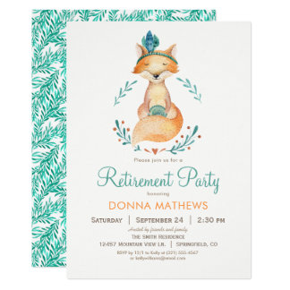 Teal and Orange Fox Retirement Party Invitation