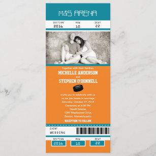 Teal and Orange Hockey Ticket Wedding Invitation