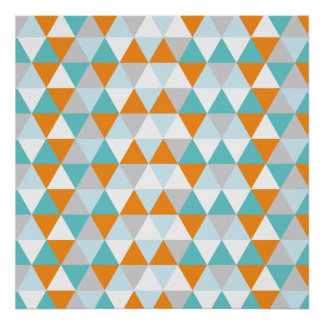 Teal and Orange Modern Triangle Pattern Poster