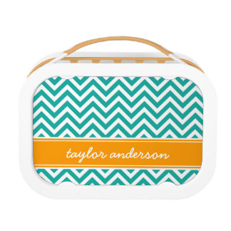 Teal and Orange Preppy Chevron Monogram Lunch Box