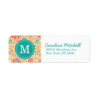 Teal and Orange Retro Floral Damask Monogram