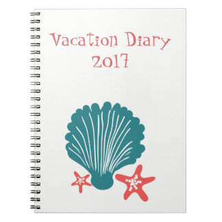 Teal and Orange Sea Shell and Star Fish Notebooks