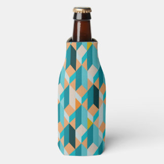 Teal And Orange Shapes Pattern Bottle Cooler