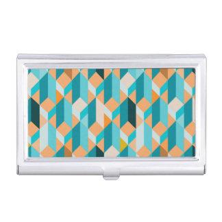 Teal And Orange Shapes Pattern Business Card Holder