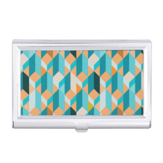 Teal And Orange Shapes Pattern Business Card Holders