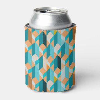 Teal And Orange Shapes Pattern Can Cooler