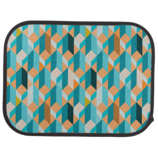 Teal And Orange Shapes Pattern Car Mat