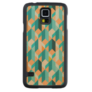Teal And Orange Shapes Pattern Carved Maple Galaxy S5 Case
