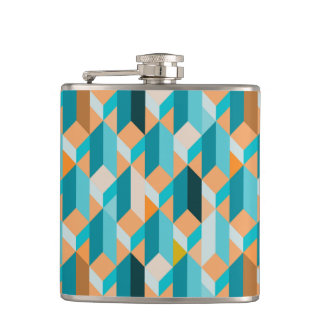 Teal And Orange Shapes Pattern Flasks