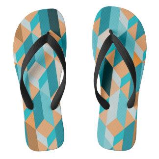 Teal And Orange Shapes Pattern Flip Flops