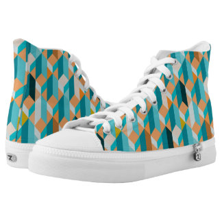Teal And Orange Shapes Pattern High Tops