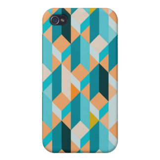 Teal And Orange Shapes Pattern iPhone 4/4S Cover