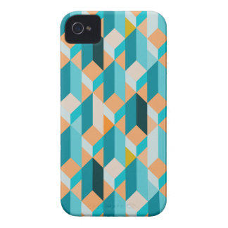 Teal And Orange Shapes Pattern iPhone 4 Cases