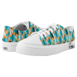 Teal And Orange Shapes Pattern Low Tops